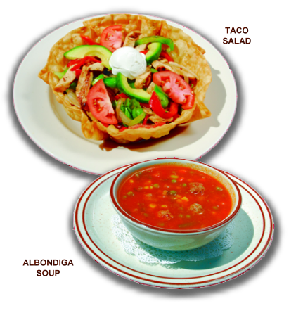 Taco Salad and Albondiga Soup